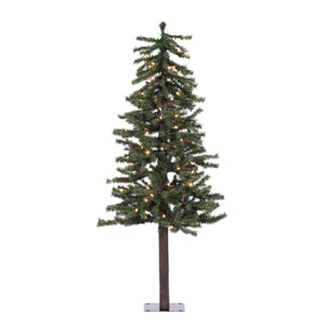 Natural 4-Foot Alpine w/100 Clear Mini Lights and 337 Tips