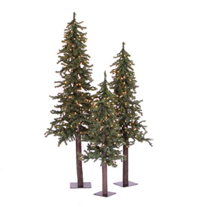 Natural 4-Foot Alpine w/450 Clear Mini Lights and 1469 Tips