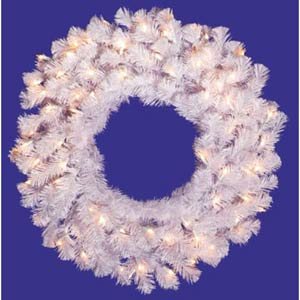 36-In. Pre-Lit Crystal White Spruce Wreath with 100 Clear Lights