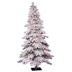 Flocked Spruce 4-Foot Alpine w/150 Clear Dura-Lit Lights and 358 Tips