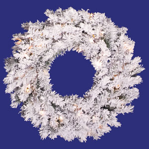 Flocked Alaskan 20-Inch Wreath w/35 Clear Dura-Lit Lights and 170 Tips