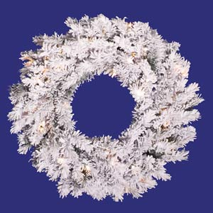 36-In. Pre-Lit Flocked Alaskan Wreath with 100 Clear Lights