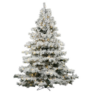 Flocked White on Green 36-Inch LED Alaskan Tree with 100 Warm White Lights