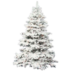 Flocked Alaskan White on Green 4.5 Foot x 44-Inch Christmas Tree with 300 Multi Color LED Lights and 349 Tips