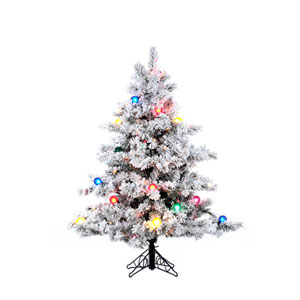 Flocked Alaskan 4.5-Foot Christmas Tree w/200 Multi-color Mini Lights and G50 Lights and 349 Tips