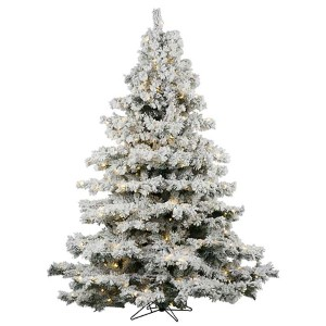 Flocked Alaskan White on Green 6.5 Foot x 62-Inch Christmas Tree with 600 Warm White LED Lights