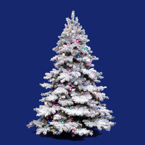 Flocked Alaskan 6.5-Foot Christmas Tree w/650 Multi-color Dura-Lit Lights and 1045 Tips