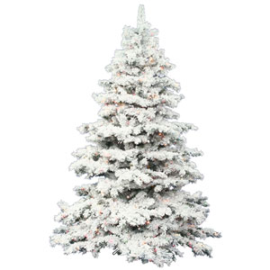 Flocked White on Green 6.5 Foot LED Alaskan Tree with 600 Multicolor Lights