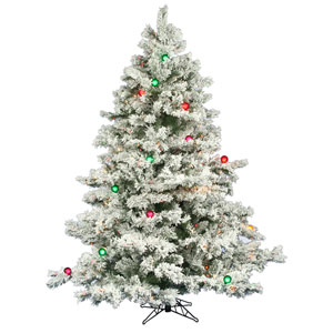 Flocked Alaskan 6.5-Foot Christmas Tree w/600 Multi-color Mini Lights and G50 Lights and 1045 Tips