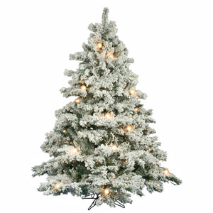 Flocked Alaskan 6.5-Foot Christmas Tree w/600 Clear Mini Lights and G50 Lights and 1045 Tips