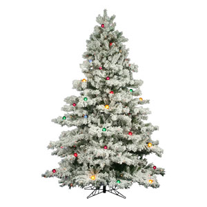 Flocked Alaskan 9-Foot Christmas Tree w/900 Multi-color Mini Lights and G50 Lights and 2059 Tips