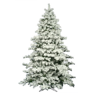 Flocked White on Green Alaskan Christmas Tree 10-foot