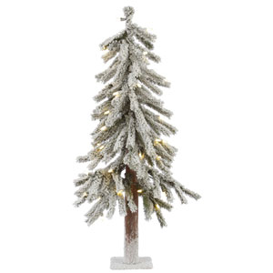 Flocked White on Green 2 Foot LED Alpine Tree with 50 Warm White Lights