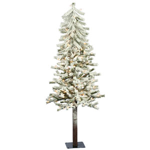 Flocked 4-Foot Alpine w/100 Clear Dura-Lit Lights and 256 Tips
