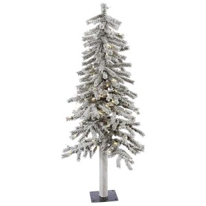 Flocked White on Green Alpine 4 Foot x 23-Inch Christmas Tree with 100 Warm White LED Lights and 256 Tips