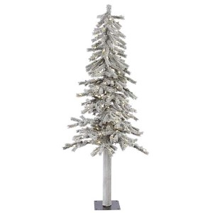 Flocked White on Green Alpine 5 Foot x 27-Inch Christmas Tree with 150 Warm White LED Lights and 348 Tips
