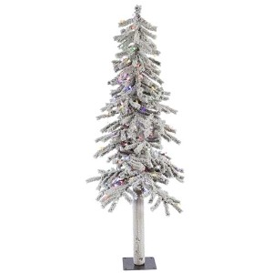 Flocked White on Green Alpine 5 Foot x 27-Inch Christmas Tree with 150 Multi Color LED Lights and 348 Tips