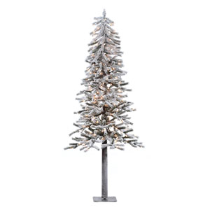 Flocked 7-Foot Alpine w/300 Clear Dura-Lit Lights and 706 Tips