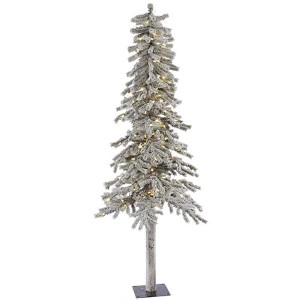 Flocked White on Green Alpine 7 Foot x 41-Inch Christmas Tree with 300 Warm White LED Lights and 706 Tips