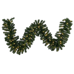 Green 9 Foot Douglas Fir LED Garland with 100 Warm White Lights