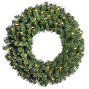 Douglas Fir 30-Inch Wreath w/50 Clear Dura-Lit Lights and 240 Tips