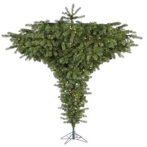 Green Upside Down 7.5-Foot x 95-Inch Unique Tree with 650 Warm White LED Lights