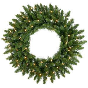 36-In. Pre-Lit Camdon Fir Wreath with 100 Clear Lights
