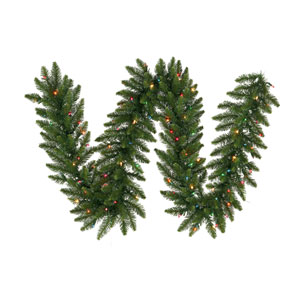 Camdon Fir 9-Foot Garland w/55 Multi-color Wide Angle LED Lights and 240 Tips