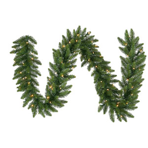 Camdon Fir 9-Foot Garland w/90 Frosted Warm White Wide Angle LED Lights and 260 Tips