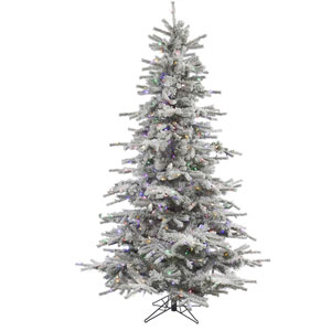 Flocked White on Green 6.5 Foot LED Sierra Tree with 550 Multicolor Lights