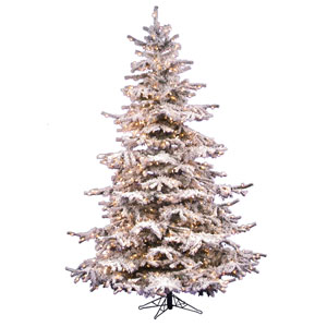 Flocked White on Green Sierra Fir Christmas Tree 12-foot