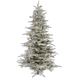 Flocked White on Green 12 Foot LED Sierra Tree with 1850 Warm White Lights