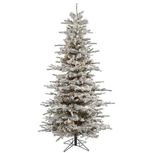 Flocked White on Green Slim Sierra 6.5 Foot x 49-Inch Christmas Tree with 550 Clear Light and 886 Tips