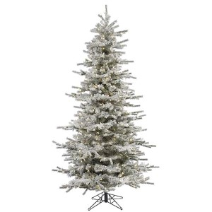 Flocked White on Green Slim Sierra 7.5 Foot x 50-Inch Christmas Tree with 700 Warm White LED Lights