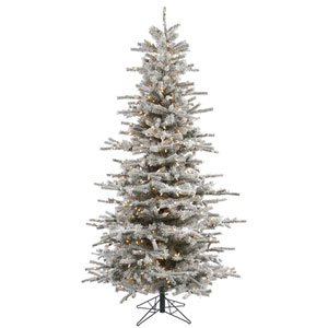 Flocked White on Green 8.5 Foot Slim Sierra Tree with 850 Clear Lights