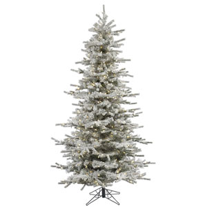 Flocked White on Green 8.5 Foot Slim LED Sierra Tree with 850 Warm White Lights