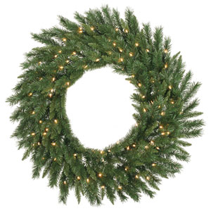 Green 60-Inch Imperial Pine LED Wreath with 200 Warm White Lights
