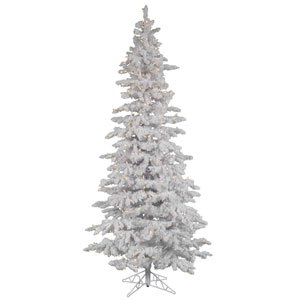 Flocked White Spruce 6.5-Foot Christmas Tree w/270 Warm White Italian LED Lights