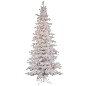 Flocked White Spruce 7.5-Foot Christmas Tree w/400 Clear Dura-Lit Lights and 1019 Tips