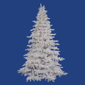 6.5 ft. x 4.6 ft. Flocked White Tree with 450 White LED Lights