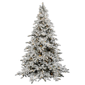 Flocked White on Green Utica Fir Christmas Tree 6.5-foot