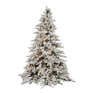 Flocked Utica Fir 9-Foot Christmas Tree w/1200 Clear Dura-Lit Lights and 2443 Tips
