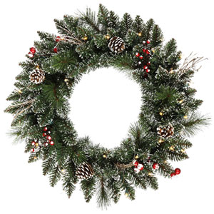 24 In. Snow Tip /Berry LED Wreath