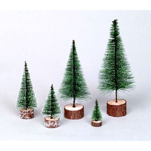 Frosted Green Village Tabletop Tree 5-inch
