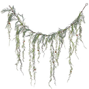 Green 4 Foot Weeping Cedar Garland with Cones