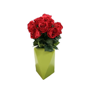 Red Roses in Chartreuse Geometric Vase