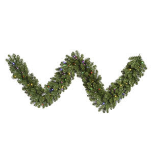 Grand Teton 9-Foot Garland w/100 Multi-color Wide Angle LED Lights and 280 Tips