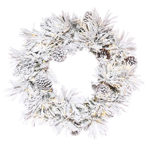 24 In. Flocked Atka Pine Wreath