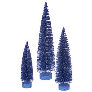 Blue Glitter Oval Tree, Set of Three