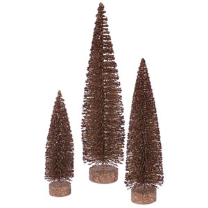 Mocha Glitter Oval Tree, Set of Three